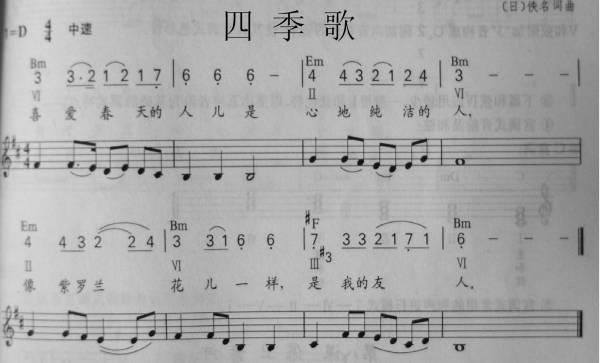 四季歌 五线谱简谱总谱下载分享 键盘中国